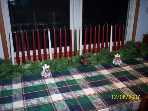 2x4 Advent Log decorated
